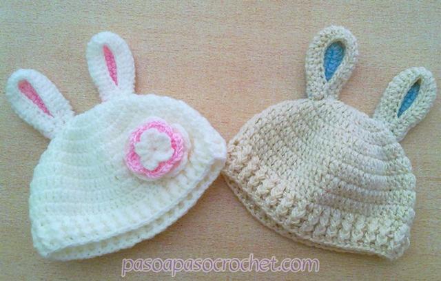Gorrito a crochet con orejas de conejo – Paso a Paso Crochet 9d99b5d4871