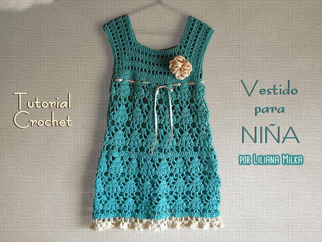 Vestido para bebes y niñas, canesú cuadrado – Paso a Paso Crochet