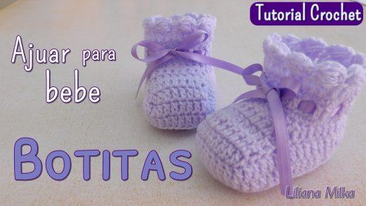 0a06a6095 Ajuar Espuma de mar  Botitas o escarpines a crochet