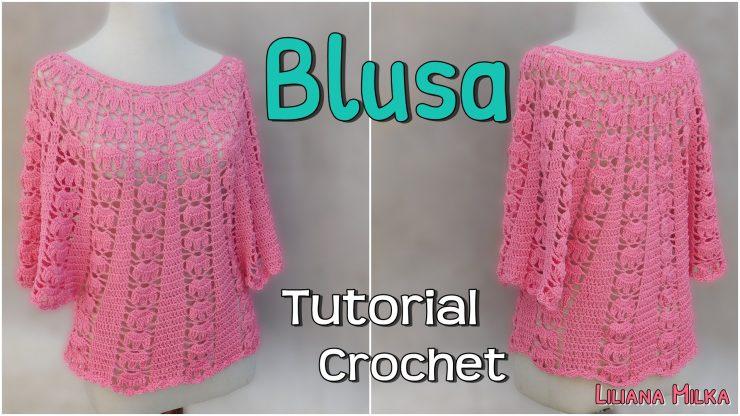 506b9662da Blusa amplia o capita a crochet en todos los talles. – Paso a Paso ...