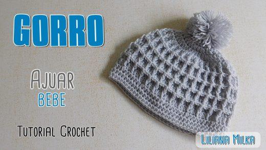 d6c27058f9457 Ajuar Crochet  gorro punto waffle