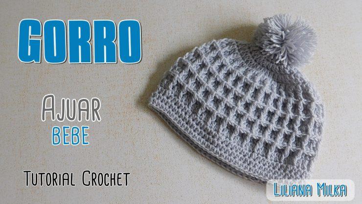 4c44649853e4f Ajuar Crochet  gorro punto waffle – Paso a Paso Crochet